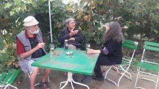 Bardocz Lajos, Asztai Csaba and me at the kocsma